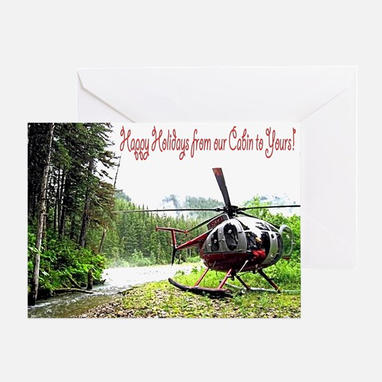Holiday Helicopter Cabin Greeting Card