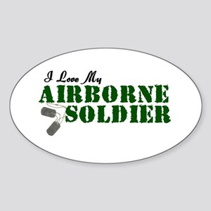 I Love My Airborne Soldier Oval Sticker
