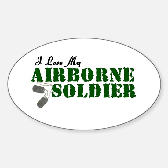 I Love My Airborne Soldier Oval Decal