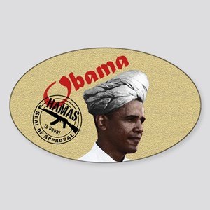 Obama w/ Hamas Seal of Approval Oval Sticker