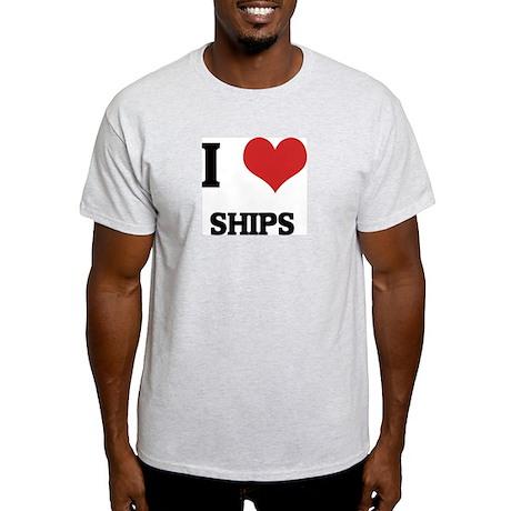I Love Ships Ash Grey T-Shirt