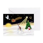 Night Flight/Ital Greyhound Greeting Cards (Pk/20)