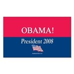 """Obama President"" Rect Sticker (10)"