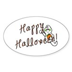 Happy Halloween Ghost Sticker (Oval 10 pk)