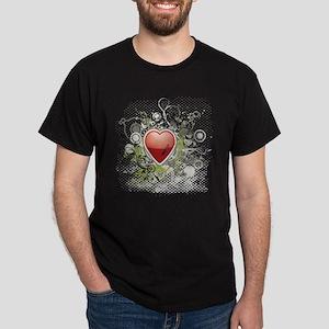 Heart Grunge Flower Dark T-Shirt
