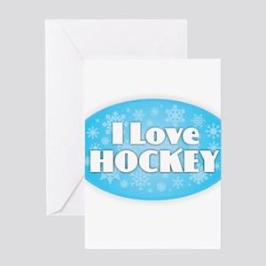 I Love Hockey - Snowflakes Greeting Cards