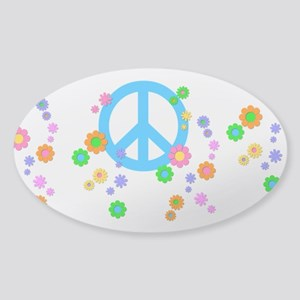 Peace sign and Flowers Sticker (Oval)