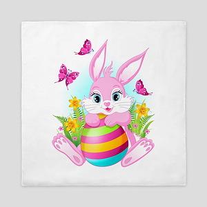 Pink Easter Bunny Queen Duvet