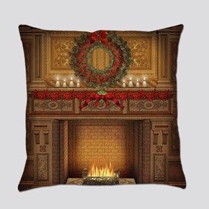 Christmas Fireplace Everyday Pillow