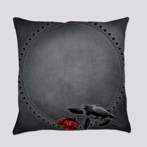 Gothic Crow on Rose Everyday Pillow