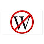 """""""No W"""" Rect Sticker (50)"""
