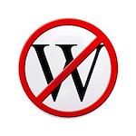 """No W"" 3.5"" Button (100)"