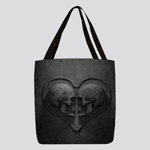 Gothic Skull Heart Polyester Tote Bag