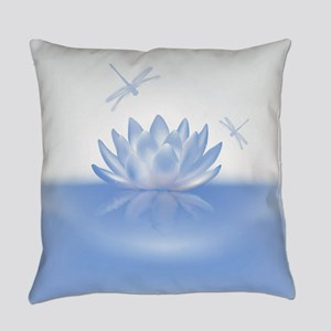 Blue Lotus and Dragonflies Everyday Pillow