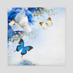 Flowers and Butterflies Queen Duvet