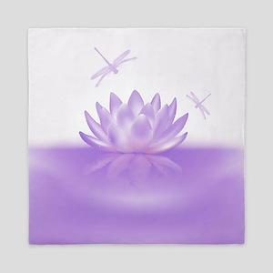 Purple Lotus and Dragonflies Queen Duvet