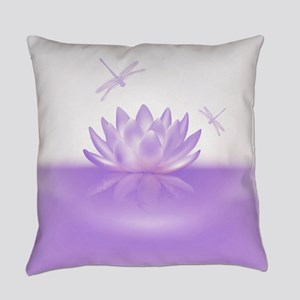 Purple Lotus and Dragonflies Everyday Pillow