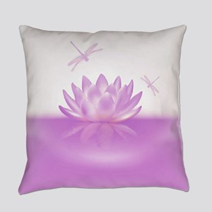 Pink Lotus and Dragonflies Everyday Pillow