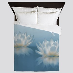 Blue Lotus and Dragonfly Queen Duvet