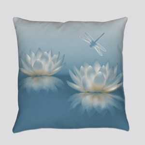 Blue Lotus and Dragonfly Everyday Pillow