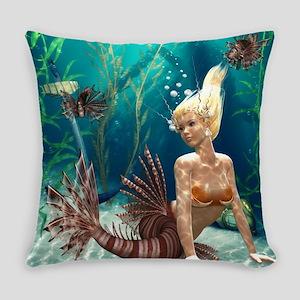 Lionfish Mermaid Everyday Pillow