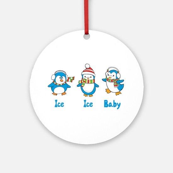 Ice Ice Baby Penguins Ornament (Round)