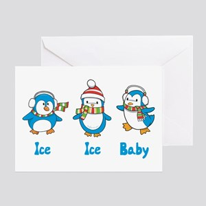 Ice Ice Baby Penguins Greeting Card