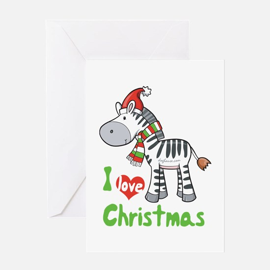 I Love Christmas Zebra Greeting Card