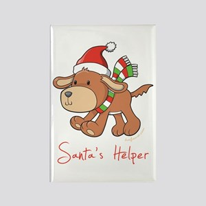 Santa's Puppy Rectangle Magnet