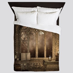 Gothic Library Window Queen Duvet