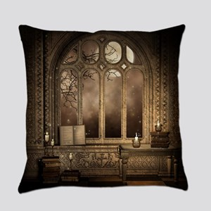 Gothic Library Window Everyday Pillow