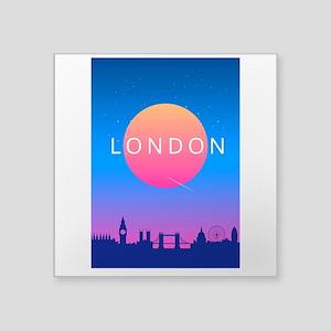 London Skyline Sunset Travel Poster Sticker