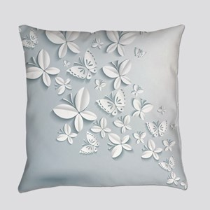 White Butterflies Everyday Pillow