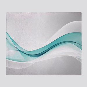 Teal Wave Abstract Throw Blanket