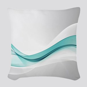 Teal Wave Abstract Woven Throw Pillow