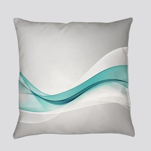 Teal Wave Abstract Everyday Pillow