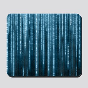 Blue Binary Rain Mousepad