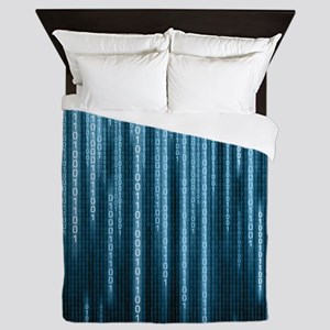 Blue Binary Rain Queen Duvet