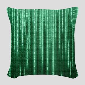 Green Binary Rain Woven Throw Pillow
