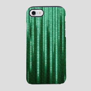 Green Binary Rain iPhone 8/7 Tough Case