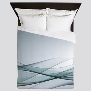 Aqua Abstract Queen Duvet
