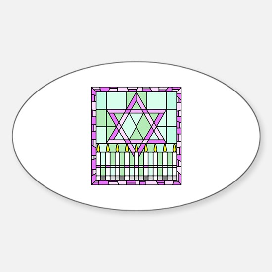 Star of David & Menorah Oval Decal