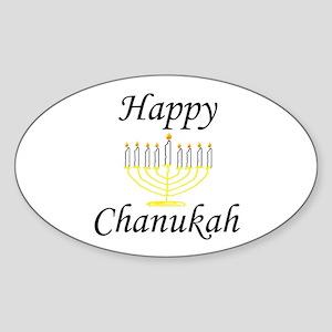 Happy Chanukah Menorah Oval Sticker