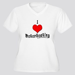 I Love MotorBoating Women's Plus Size V-Neck T-Shi