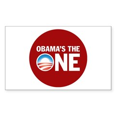 Obama's the ONE Red Rectangle Sticker 50 pk)