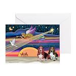 Xmas Star & 2 Bassets Greeting Card