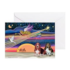 Xmas Star & 2 Bassets Greeting Cards (Pk of 10)