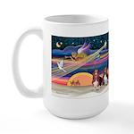 Xmas Star & 2 Bassets Large Mug