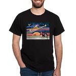 Xmas Star & 2 Bassets Dark T-Shirt
