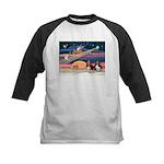 Xmas Star & 2 Bassets Kids Baseball Jersey